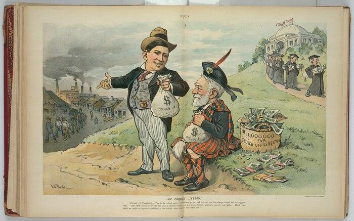 Карикатура, в которой Чарльз Шваб спрашивает Эндрю Карнеги, может ли быть разумнее использовать богатство от промышленности в интересах рабочего, а не жертвовать его институтам для привилегированных немногих. Источник: en.wikipedia.org