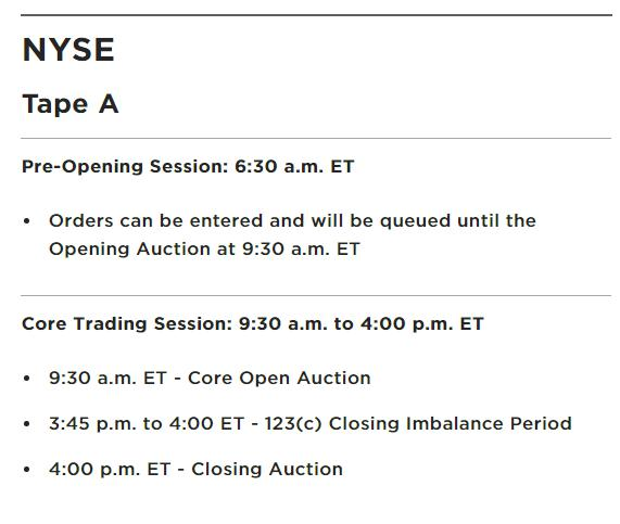 Рис. 2. Расписание торгов на NYSE (nyse.com/markets/hours-calendars)