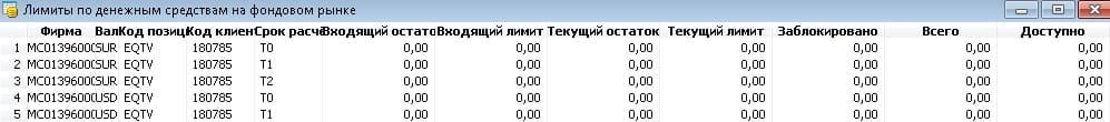 Рис. 3. Таблица «Лимиты по денежным средствам»