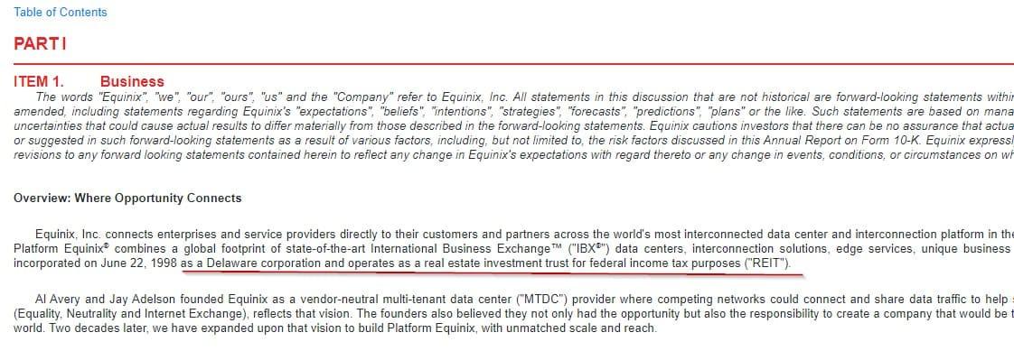 Рис. 4. Раздел «Business» отчёта 10-k компании Equinix. При общем описании компании упоминается, что EQIX зарегистрирована как REIT. Источник: EDGAR: EQIX