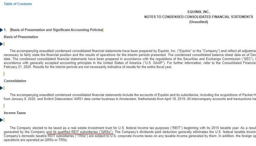 Рис. 5. Раздел «Income Taxes» отчёта 10-q компании Equinix. То, что компания является REIT, упоминается в разделе связанными с налогообложением. Источник: EDGAR: EQIX