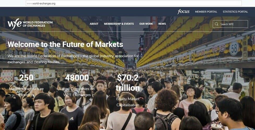 Рис. 1. Сайт Всемирной федерации бирж