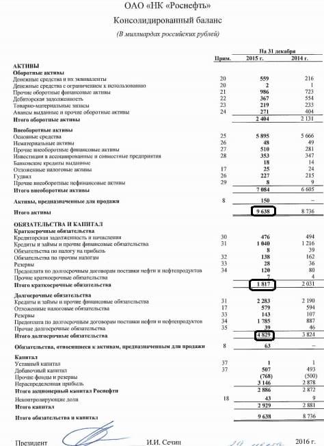 Рис. 2. Балансовый отчет компании Роснефть