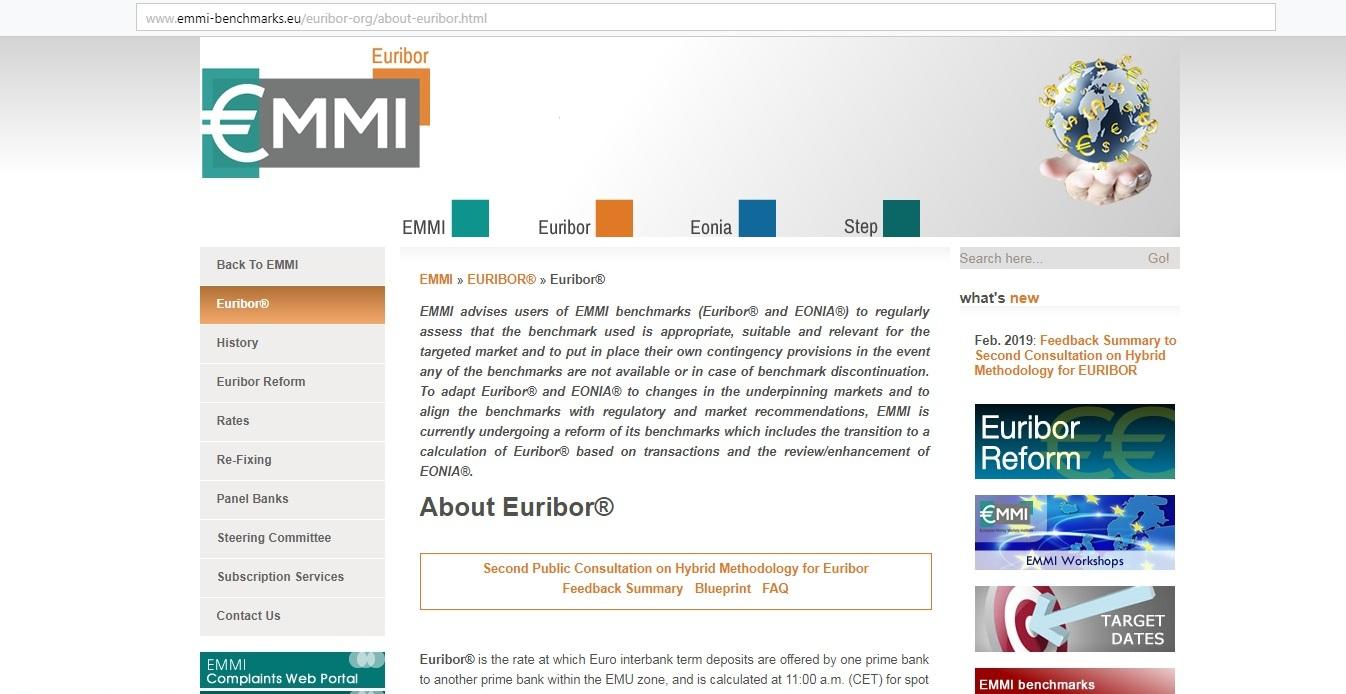 Рис. 2. Страница ставки EURIBOR на сайте EMMI