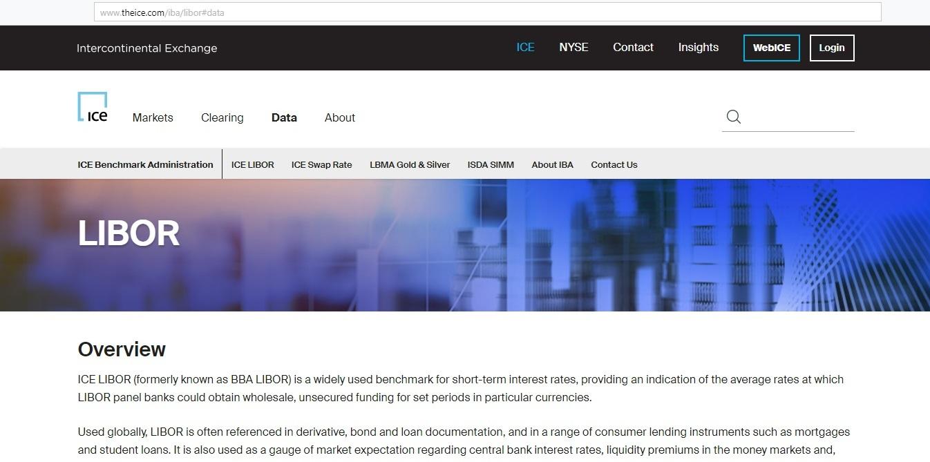 Рис. 1. Страница ставки LIBOR на сайте биржи ICE