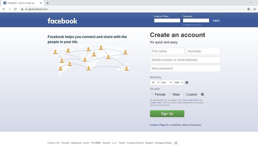 Рис. 1. Сайт Facebook