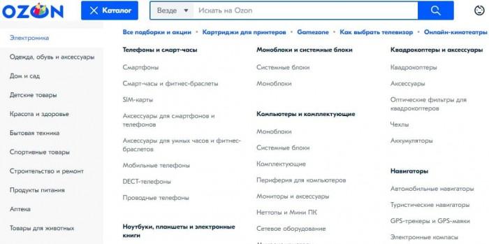 Источник: скриншот заглавной страницы ozon.ru