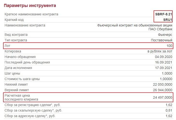 Рис. 2. Размер лота и расчётная цена фьючерсного контракта SBRF-9.21. Источник: Московская биржа