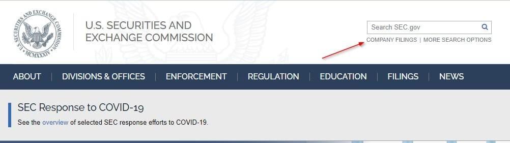 Рис. 1. Главная страница sec.gov