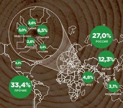 Рис. 2. География продаж. Процентные значения — доли от общей выручки. Источник: годовой отчёт за 2019 г.