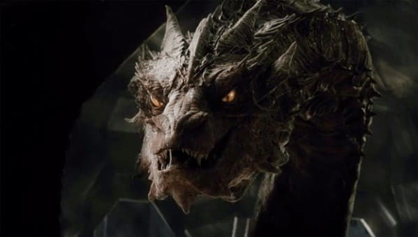 Дракон Смауг. Кадр из фильма «Хоббит: Битва пяти воинств» (2014)