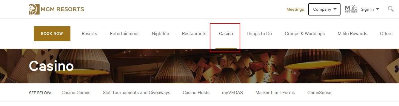 Рис. 7. Источник: https://www.mgmresorts.com/en/casino.html