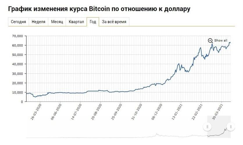 Рис. 1. Курс Bitcoin