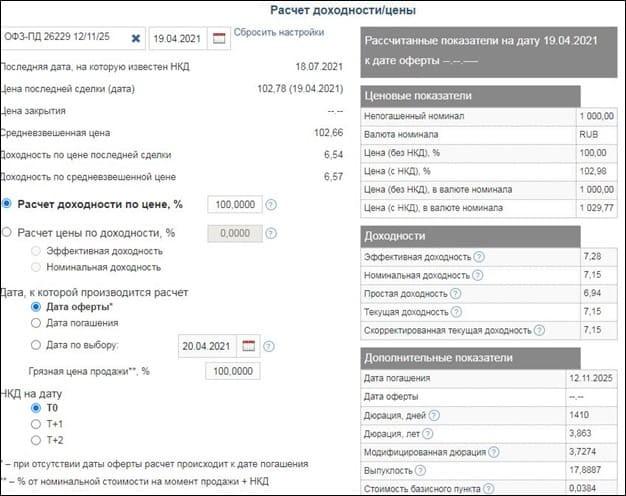 Рис. 1. Калькулятор облигаций. Источник: сайт MOEX