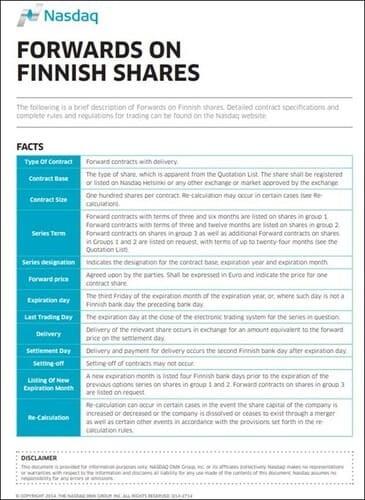 Рис. 2. Спецификация форвардного контракта на финские акции. Источник: NASDAQ