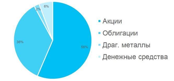 Рис. 2. Распределение по основным классам активов