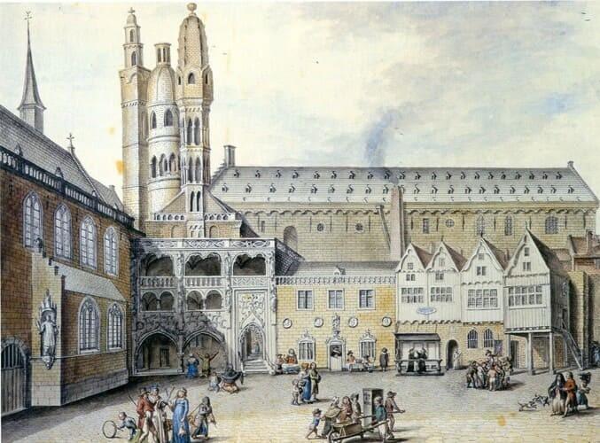 Рис. 1. Здание и площадь биржи в Брюгге, Бельгия, XV в.