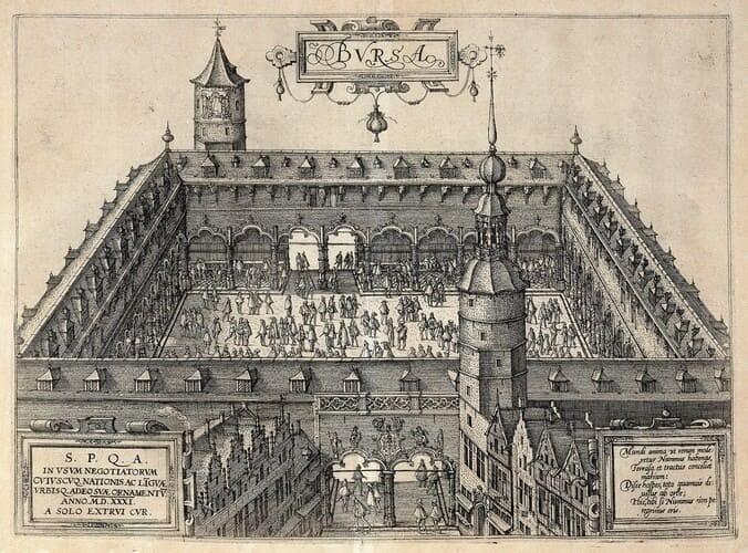 Рис. 2. Биржа в Антверпене, Бельгия, XV в.