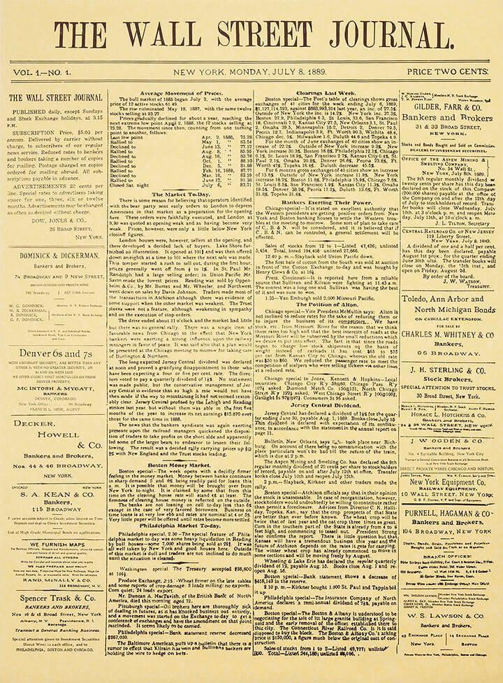 Первый выпуск The Wall Street Journal от 8 июля 1889 года
