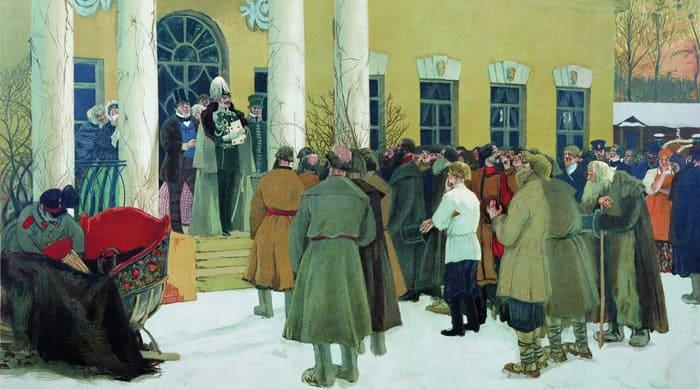 Картина «Освобождение крестьян (Чтение манифеста)», Борис Кустодиев, 1907 год