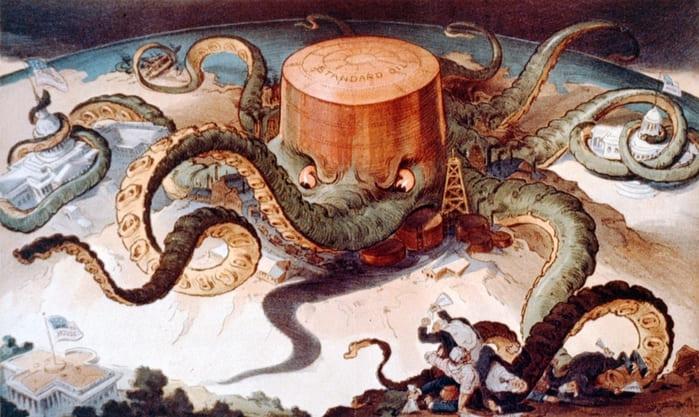 Карикатура, показывающая Standart Oil в виде осьминога, охватившего щупальцами металлургическую и судоходную промышленность, а также правительство США. Художник Удо Х. Кепплер, 1904, литография. Источник: johndrockefeller.org