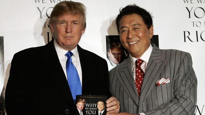 Роберт Кийосаки и Дональд Трамп на презентации совместной книги «Почему мы хотим, чтобы вы были богаты», 2006 год.