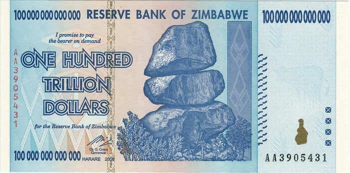 Зимбабве, 2008 год. Банкнота 100 триллионов зимбабвийских долларов. Фото - en.wikipedia.org
