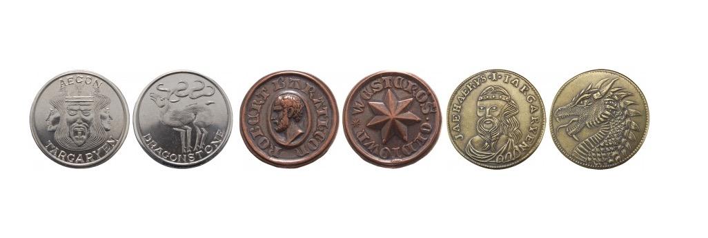 Золотые и серебряные монеты Таргариенов, бронзовые — Баратеона