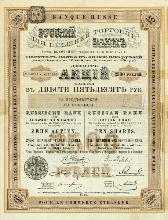 Акция Русского для внешней торговли банка, 1871 год. Изображение из собрания автора.