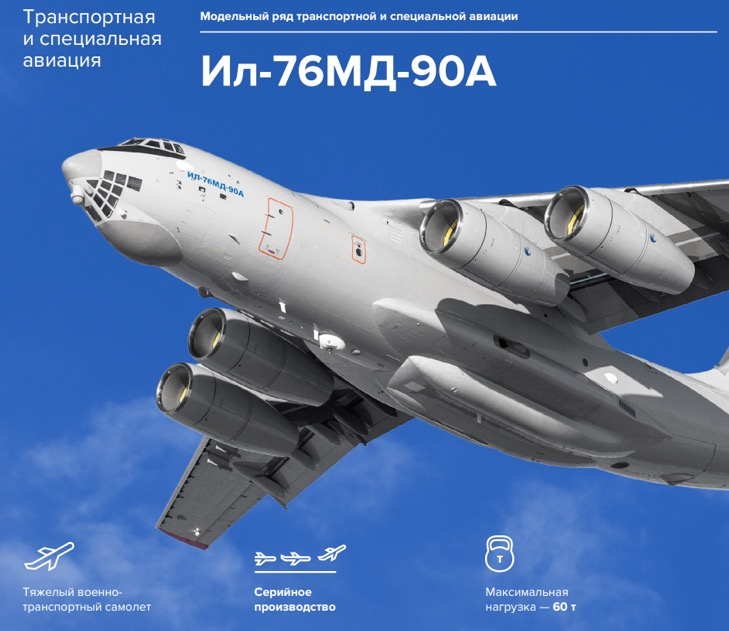 Ил-76 МД-90А, «ОАК». Источник: годовой отчет компании