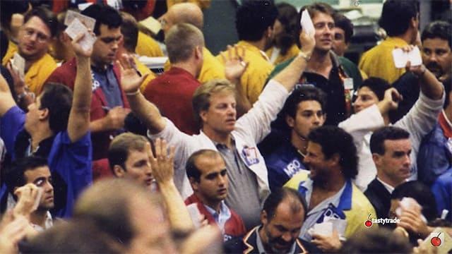 Льюис Борселлино в зале Чикагской торговой биржи, конец 1980-х.
