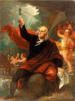 Бенджамен Уэст. «Бенджамин Франклин ловит молнию», 1816 год