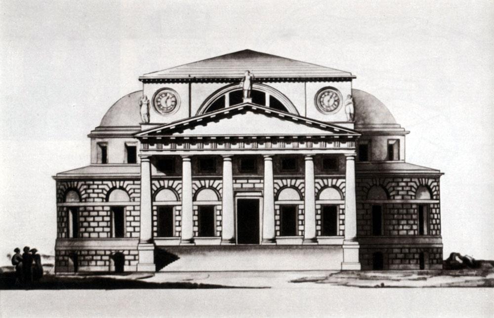 Главный фасад Биржи по проекту Кваренги (1780-е годы). Иллюстрация из личного архива автора.