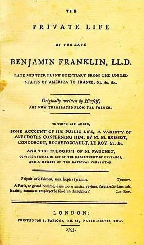 Обложка первого издания «Автобиографии» Франклина, 1793 год