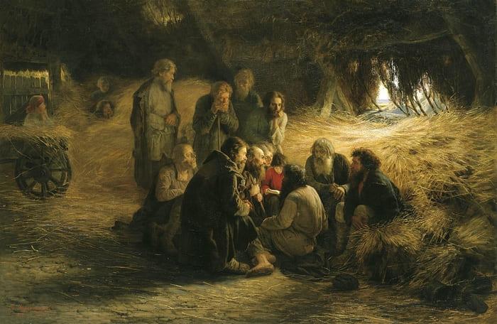 Картина «Чтение Положения 19 февраля 1861 года», Григорий Мясоедов, 1873 год